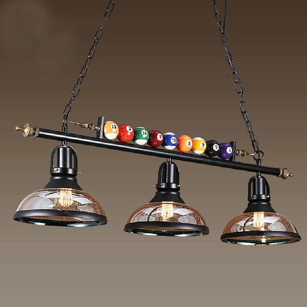"39"" Hanging Pool Table Lights Fixture Billiard Pendant Lamp w/ 3 Glass Shades"