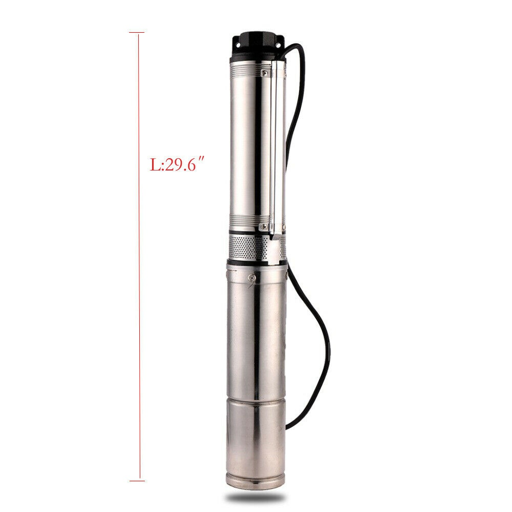 """1HP 4"""" Deep Well Submersible Pump 200' 33GPM 110V Stainless Steel w/ Control Box"""