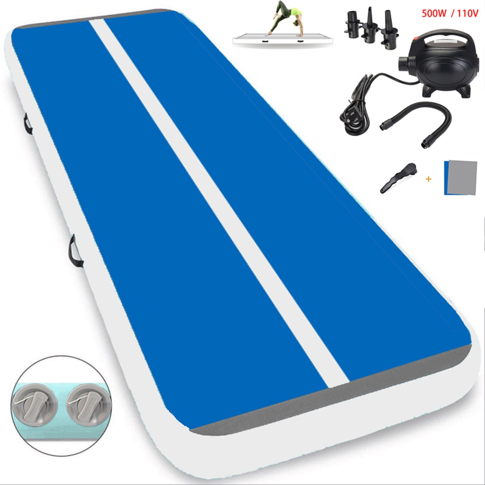 """White and Blue 10ft/ 4"""" inflatable gymnastics mat with air pump air track gymnastics for sport use"""