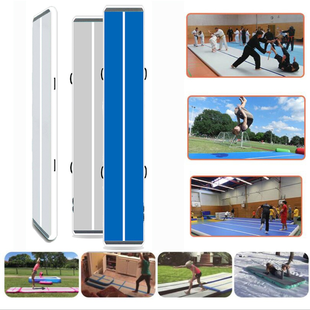 "White and Blue 20ft/ 4"" air tumble track with air pump inflatable gym mat for sport use"