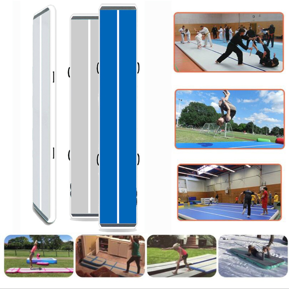 """iMeshbean 16ft/ 8"""" inflatable air track best air track tumbling mat with air pump for indoor/ outdoor sport"""