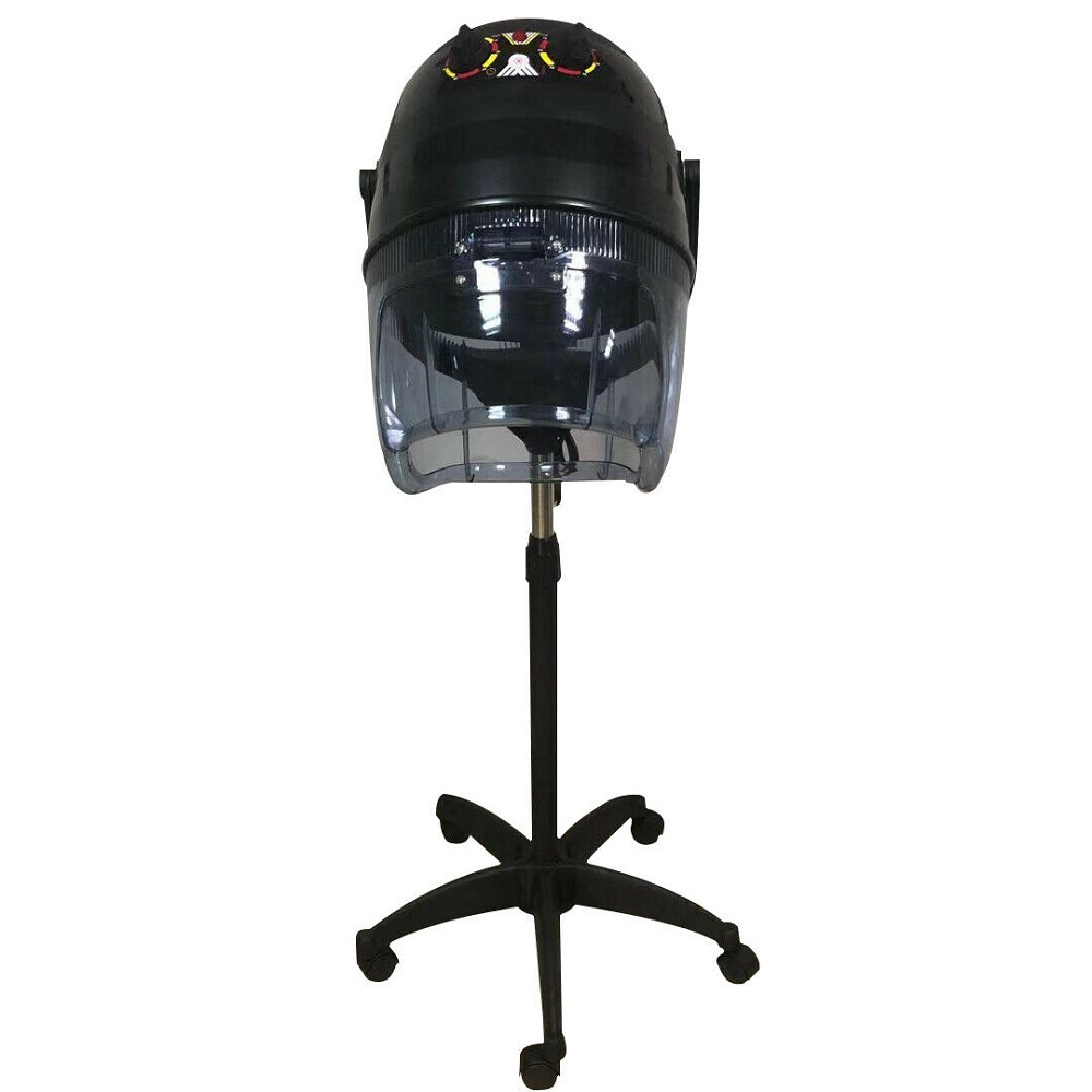 Professional Stand Up Hair Dryer Timer Swivel Hood Caster for Salon Beauty Black