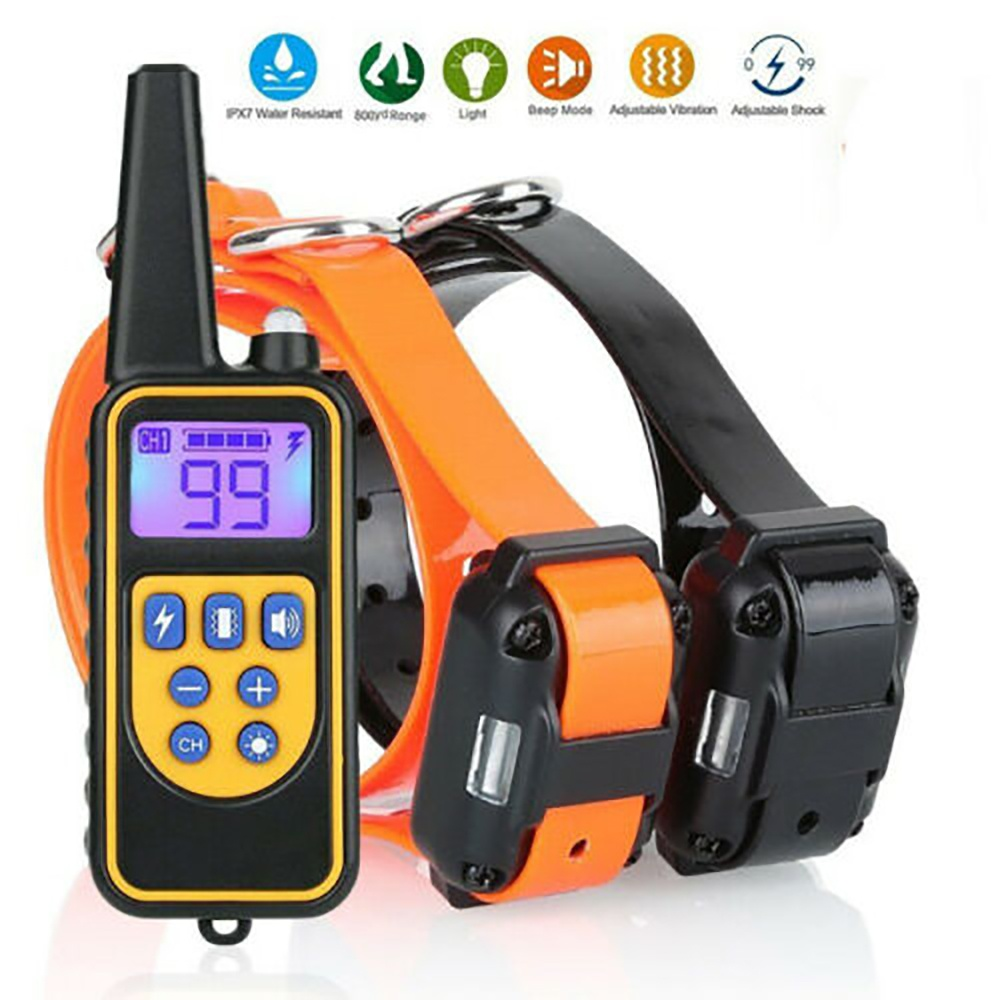 880 Yards Dog Shock Collar with Waterproof Rechargeable Remote Control for 2 Dods Training