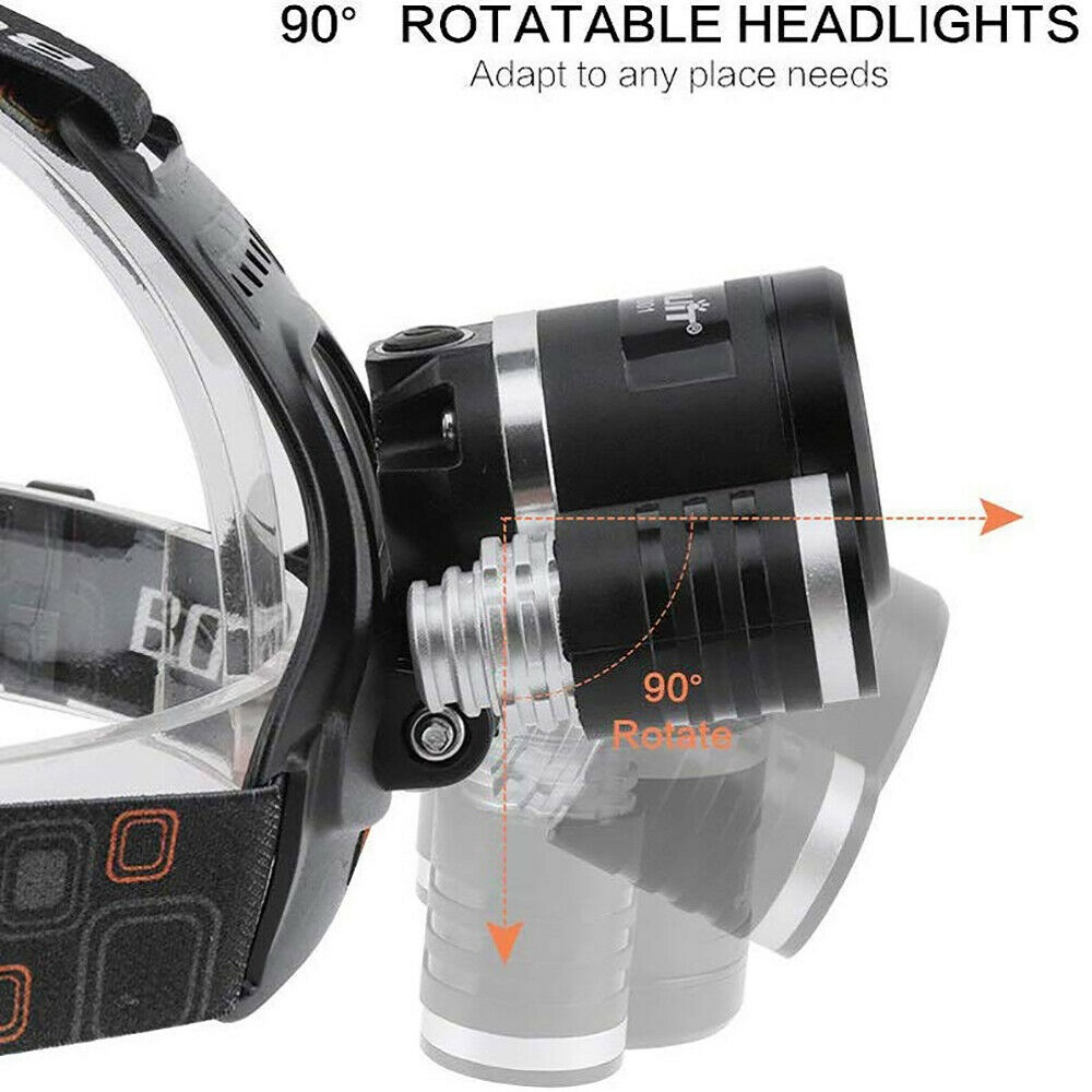 BORUiT 13000 Lumen Headlamp XM-L 3x T6 LED Headlight Battery/Mini Led Flashlight