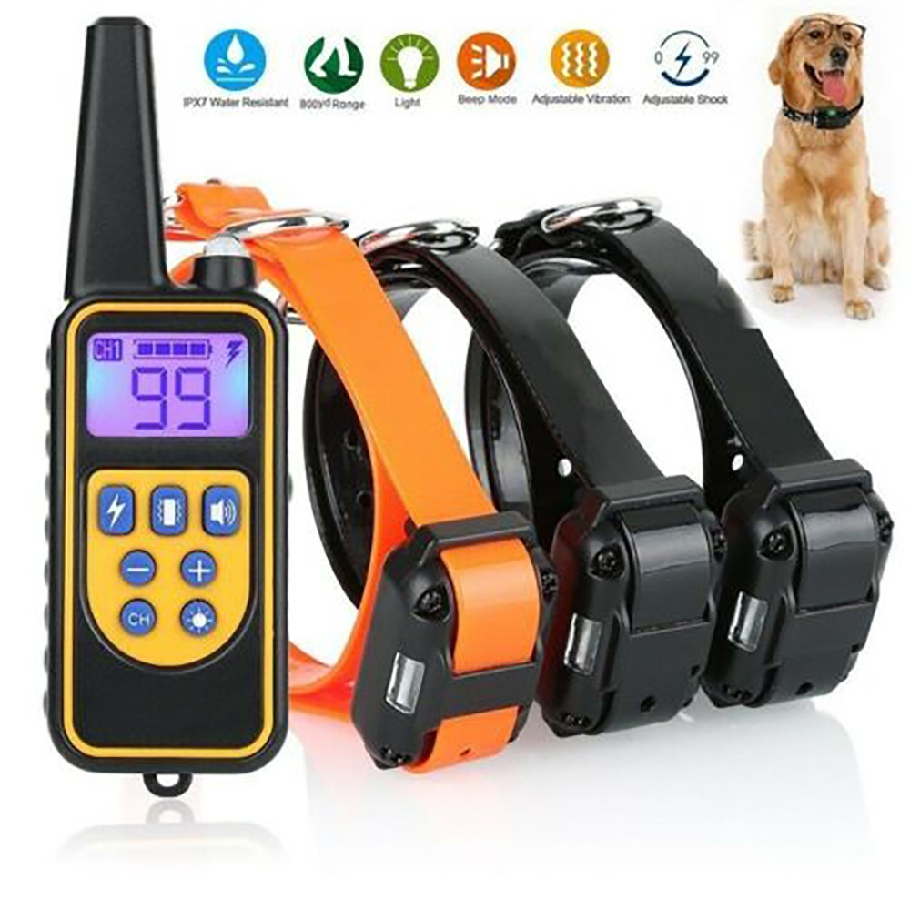 880 Yard Waterproof  Anti Bark Collar Dog Training Shock Collar With Remote For Large Pet