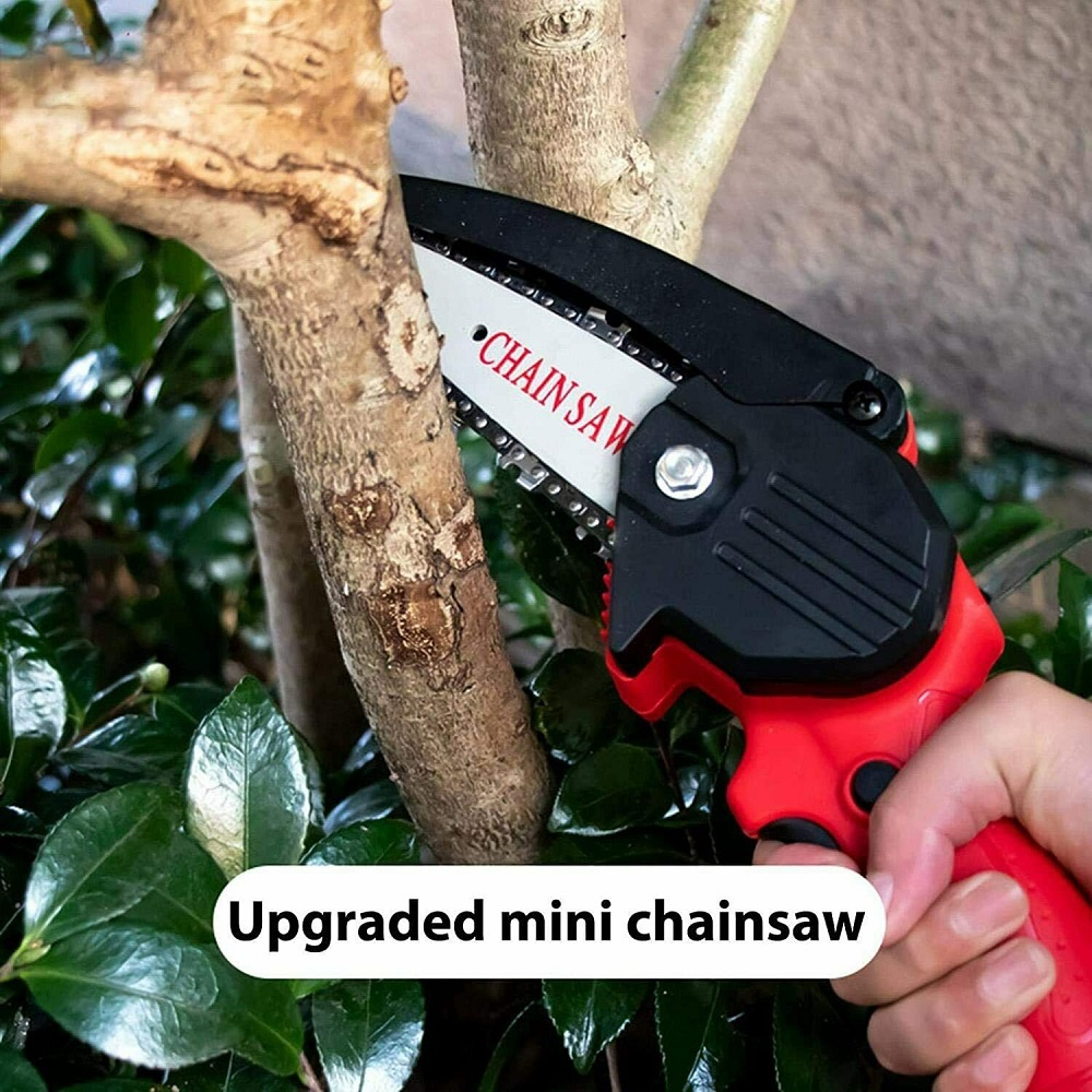500W 21V Electric Cordless Chain Saw One-Hand Saw Wood Cutter w/ Battery&Charge