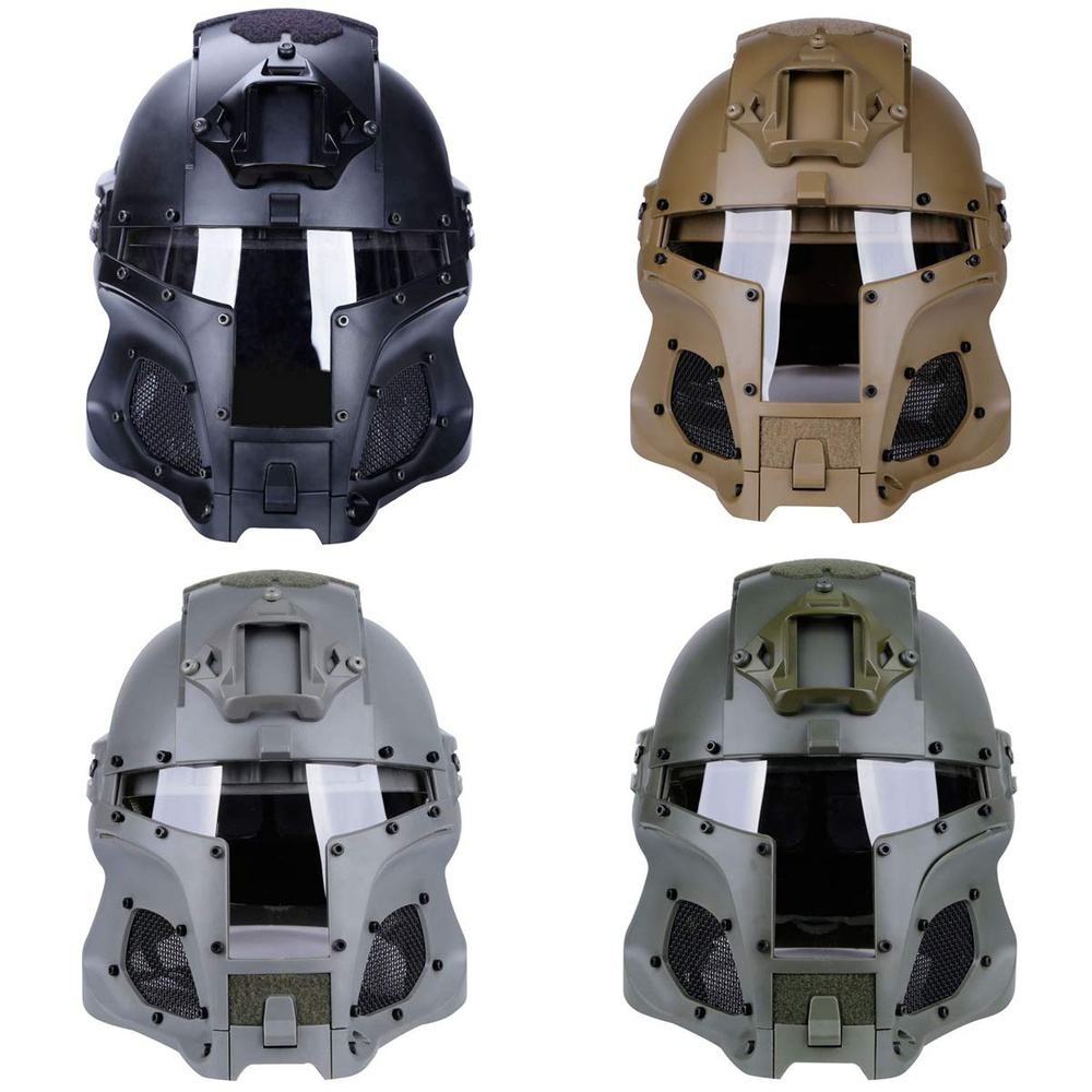 Gray Retro Medieval Iron Warrior Tactical Motorcycle Airsoft Helmet Full Face Mask
