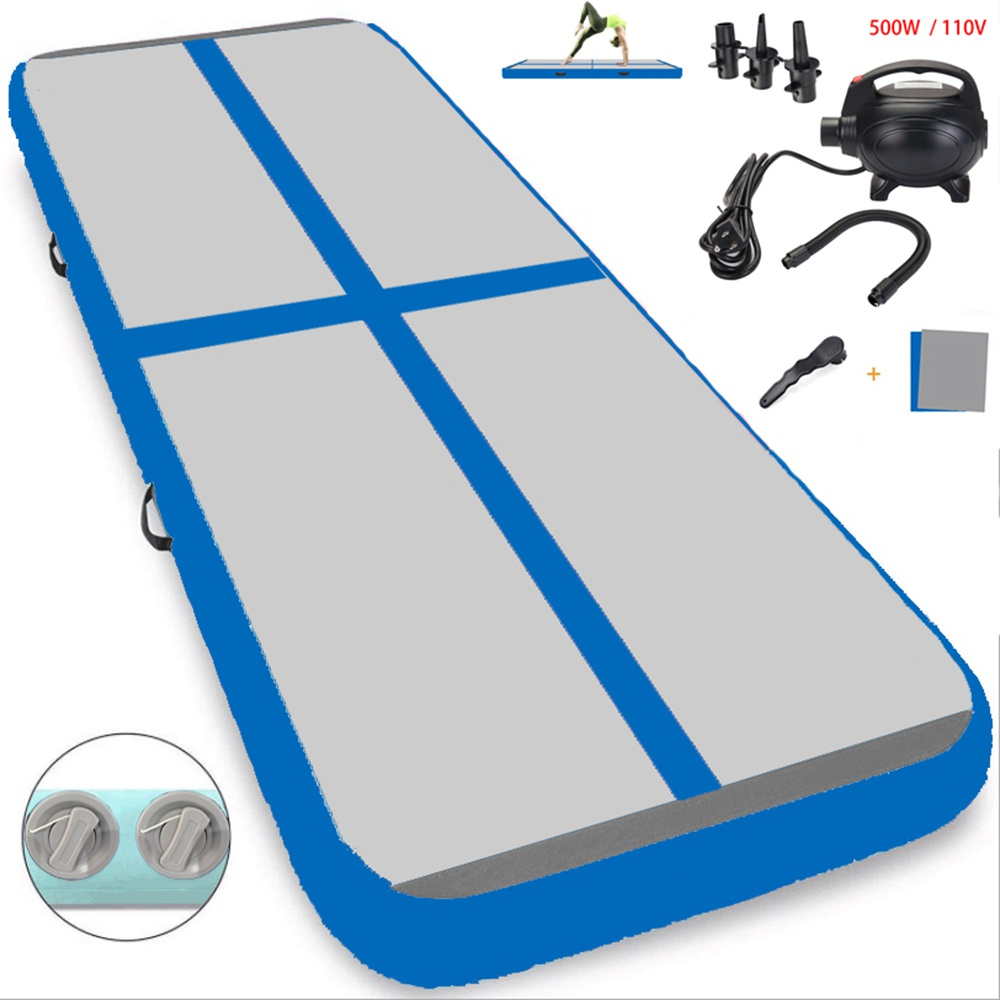 "Gray and Blue 10ft/ 4"" air track mat with air pump inflatable tumble track for sport use"