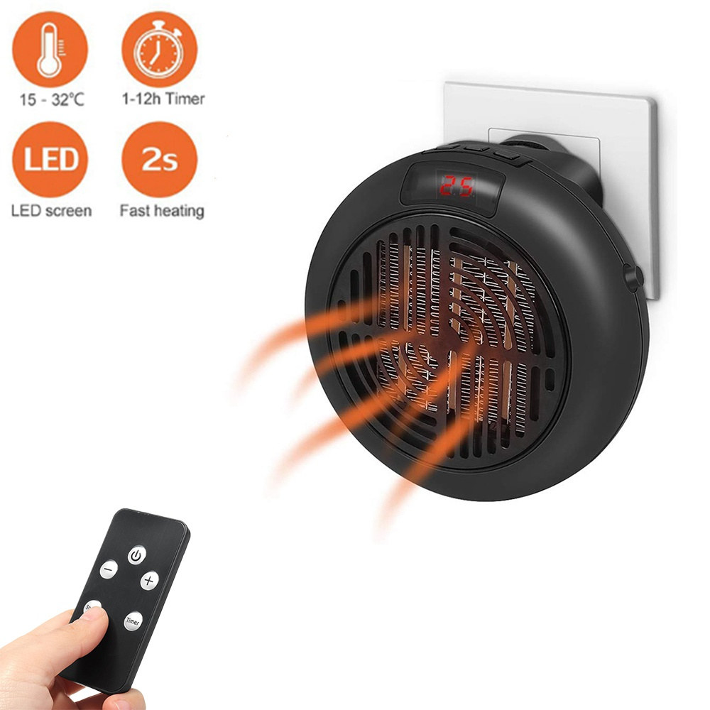 Portable Heater Plug-in 1000W Personal Wall Outlet Space Heater with Remote