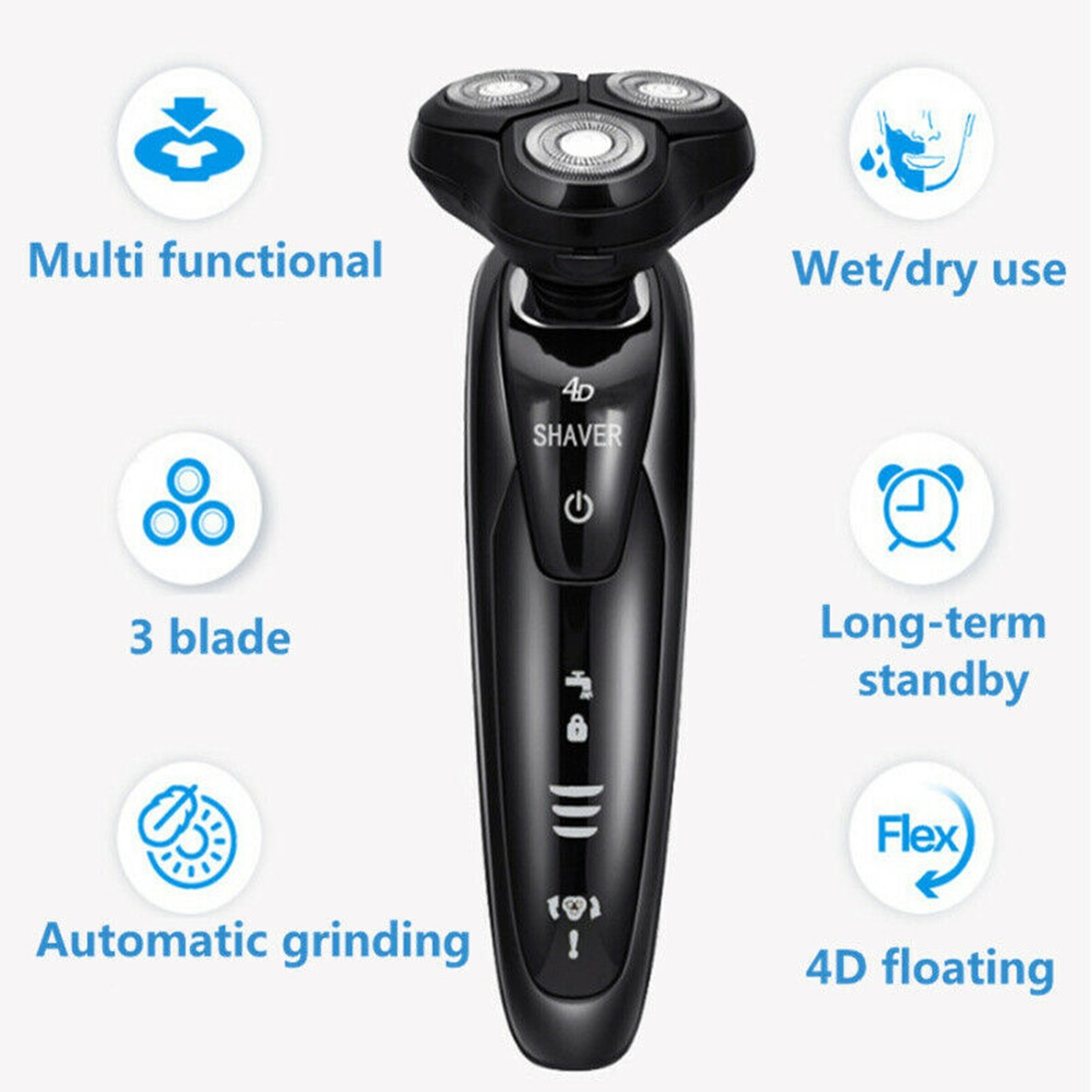 Black Rotary 4D Floating Electric Shaver Rechargeable Washable Cordless Electric Razor for Man