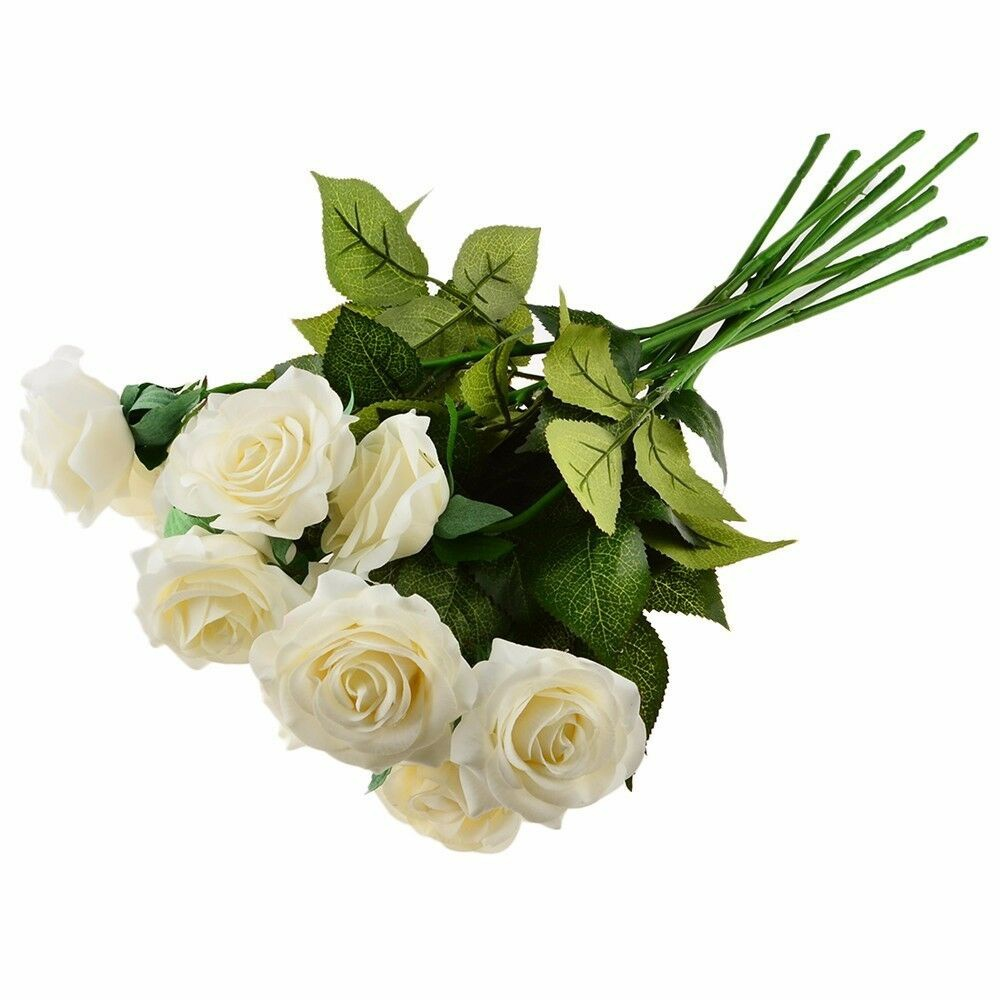 20 Head White Artificial Silk Fake Real Latex Touch Rose Flower for Wedding Home Design