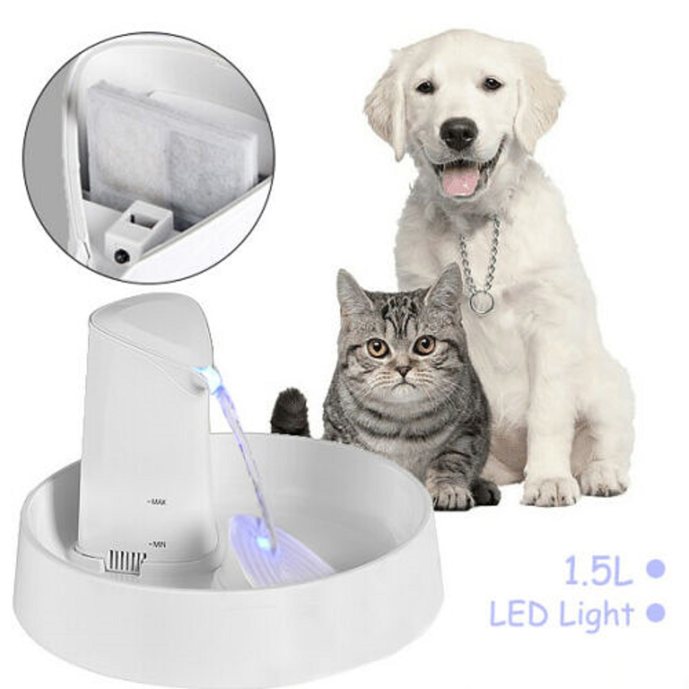LED Electric Automatic Pet Dog Cat Water Fountain Drinking Bowl Auto Dispenser
