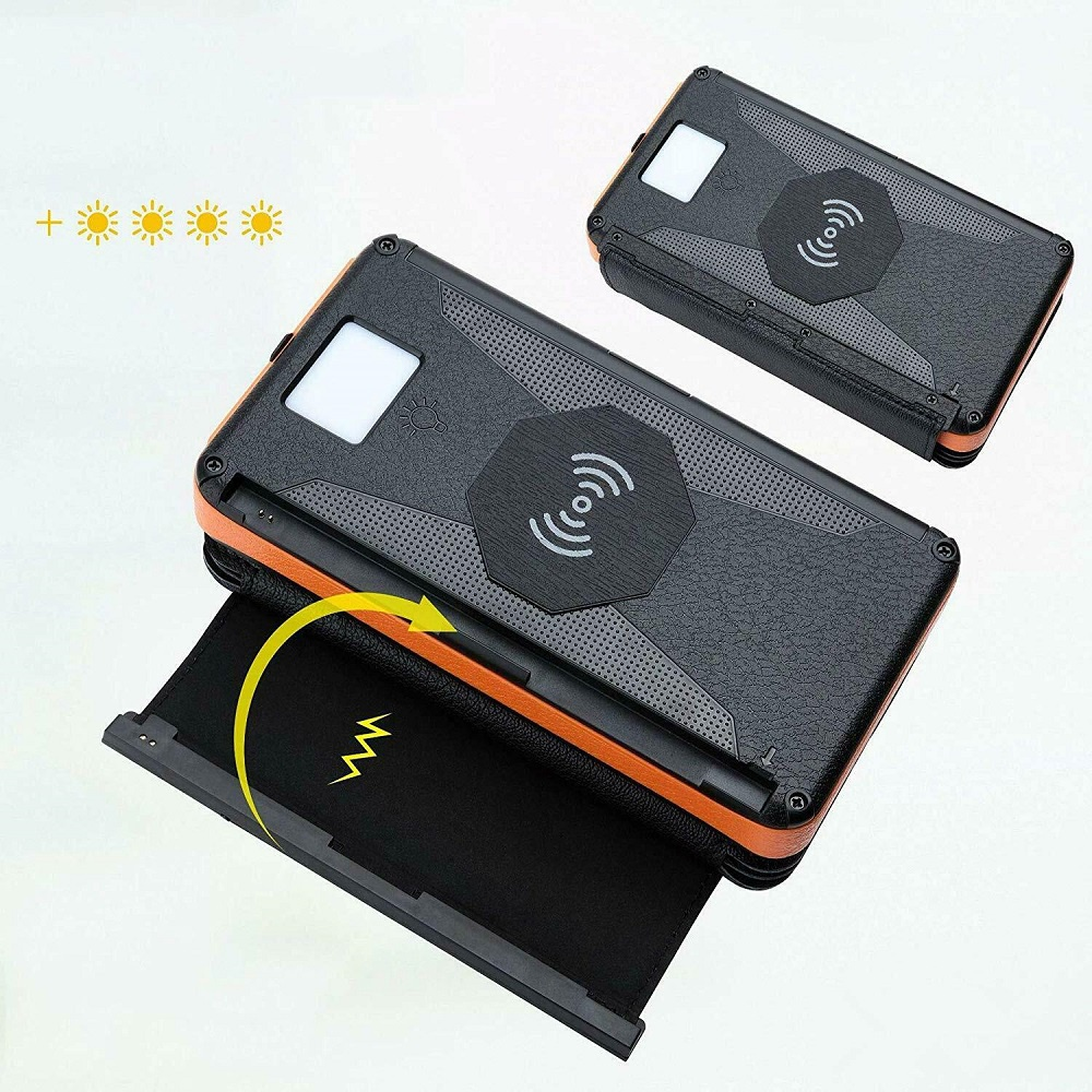 20000mAh Solar Charger Qi Wireless Charger Portable Power Bank with Five Panels