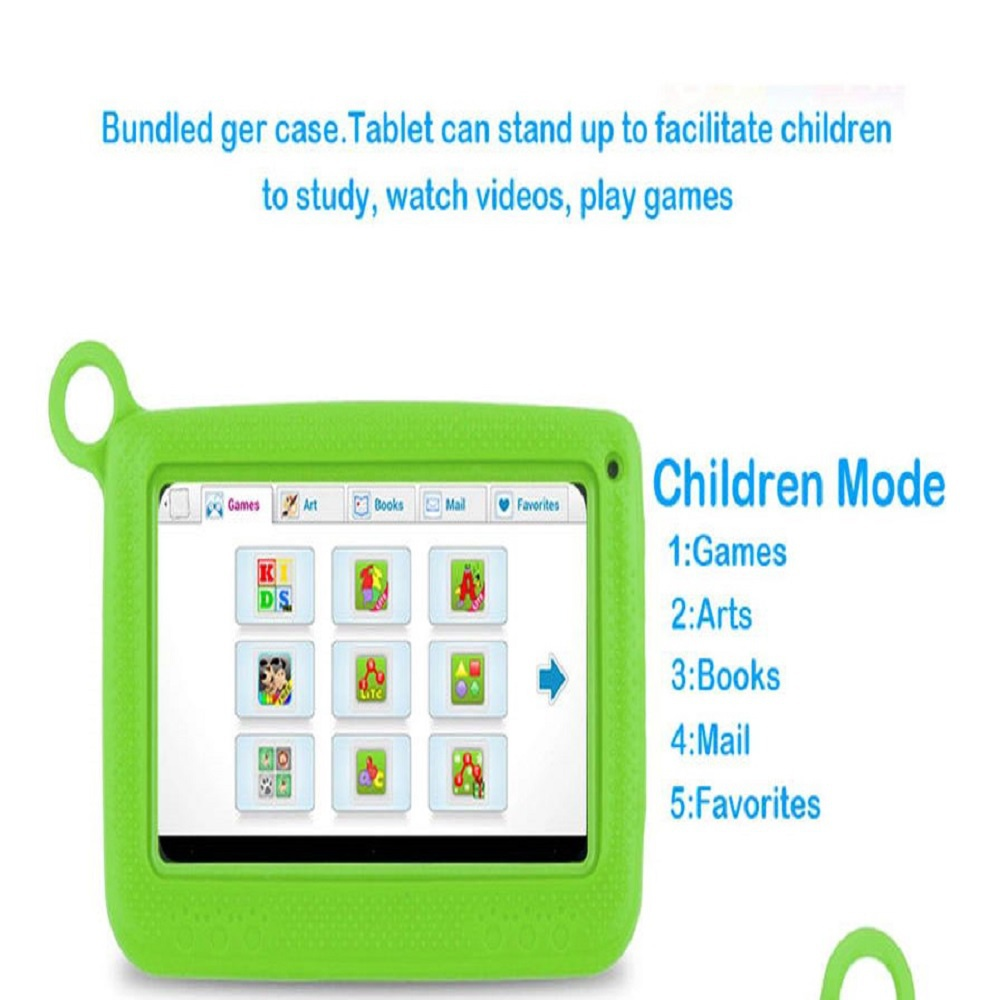 """Green Kids Tablet 7"""" Kids PC 8GB Android Wifi Quad Core Educational Apps Best Gift"""