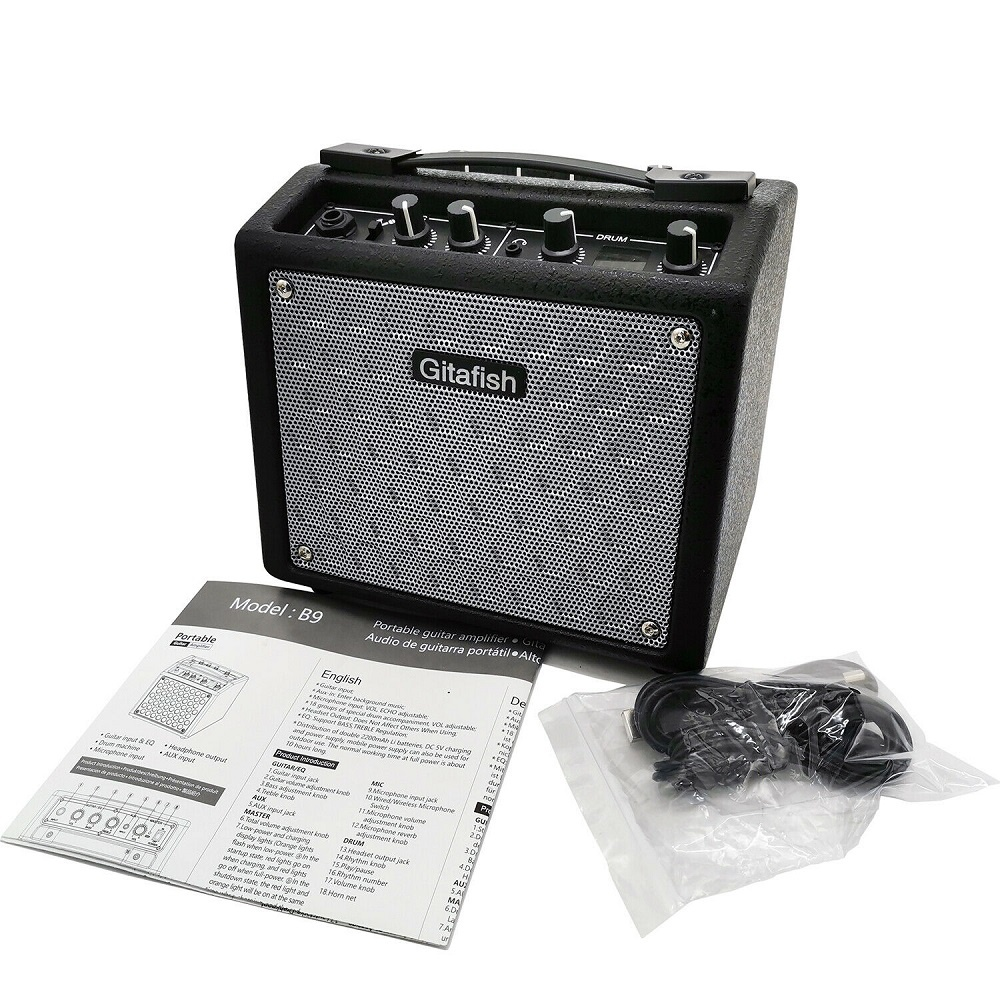 Portable Rechargerable Electric Guitar Amplifier Speaker Amp Bass Distortion