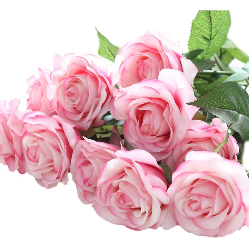 20 Head Light Pink Artificial Decorative Flowers Real Latex Touch Rose Flowers for Wedding Home Design