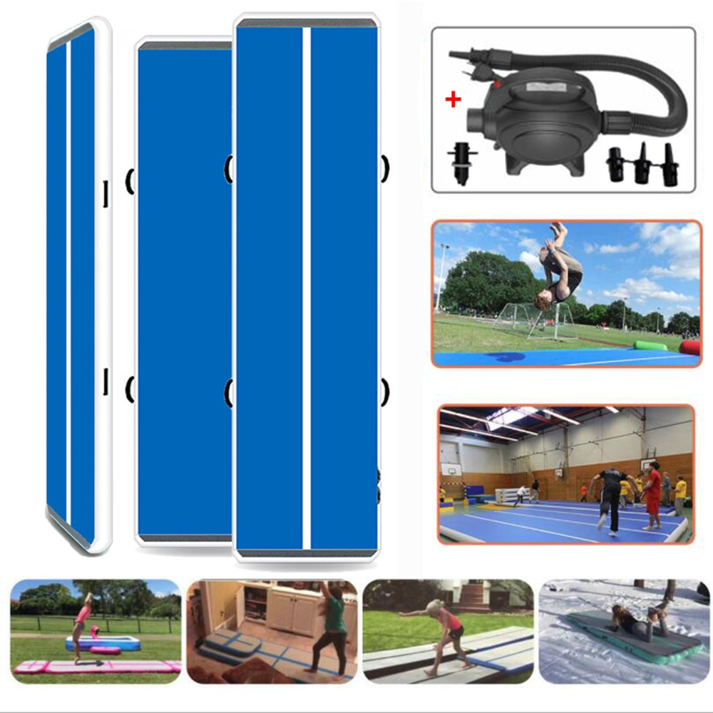 "Blue 20ft/ 4"" air tumble track with air pum inflatable gym mat for sport use"