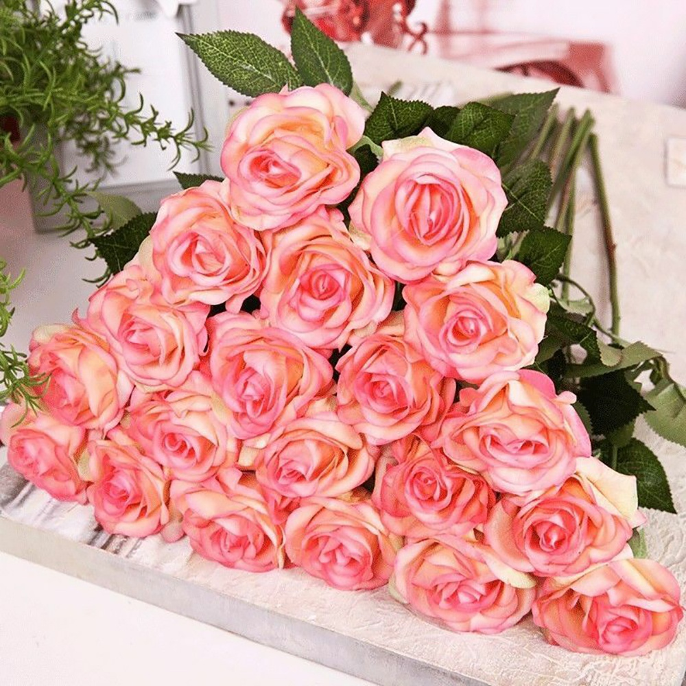 20 Head Champagne with Pink Real Latex Touch Rose Flowers Fake Flowers for Wedding Home Decoration