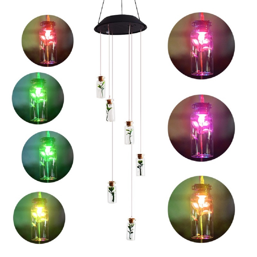 Wish Bottle LED Color-Changing Power Solar Wind Chimes Yard Home Garden Decor