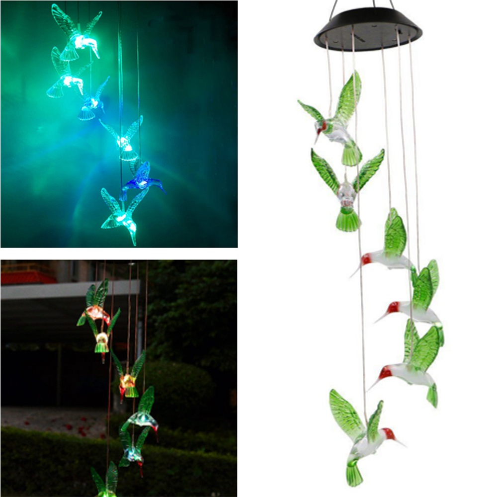 Hummingbird Solar Wind Chimes with Color Changing Lights