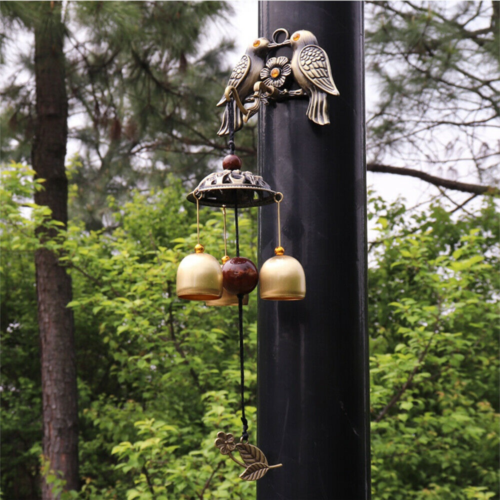 Copper Bird Wind Chimes Door Decor Wind Bells Windchimes Wall Hanging Decor US